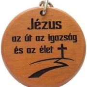 Kulcstartó, fa, kerek (Jézus az út)